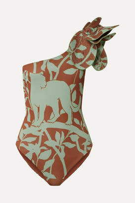 Johanna Ortiz Buckets Of Rain Ruffled One-shoulder Printed Swimsuit - Light green