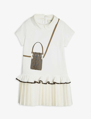 Fendi Trompe L'Oeil logo-print cotton-jersey mini dress 4-14 years