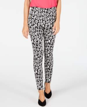 INC International Concepts Inc Leopard-Print Jacquard Skinny Pants, Created for Macy's