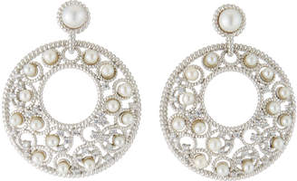 Freida Rothman Textured Pearl Round Crescent Drop Earrings