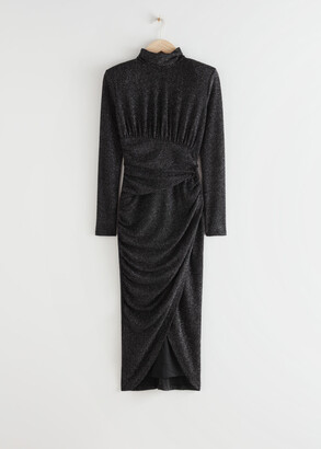 And other stories Draped Padded Shoulder Midi Turtleneck Dress