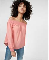 Express smocked off the shoulder long sleeve blouse