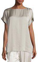 Lafayette 148 New York Lori Short-Sleeve Satin Blouse, Khaki