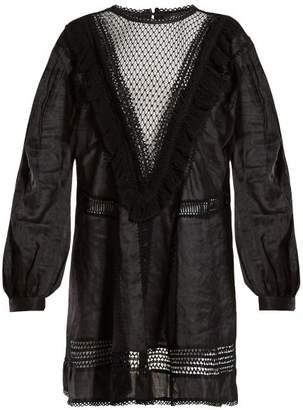 Isabel Marant Rowina Lace Insert Poplin Mini Dress - Womens - Black