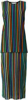 Diane von Furstenberg striped layered midi dress - women - Cotton/Nylon/Spandex/Elastane/Viscose - S