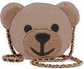 Moschino Teddy Appliquéd Faux Textured-leather Shoulder Bag - Brown