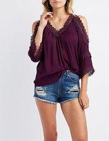 Charlotte Russe Crochet-Inset Cold Shoulder Top