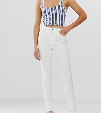 Monki Oki organic cotton high waist skinny jeans in white