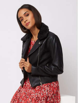 George Black Faux Fur Detachable Collar Biker Jacket