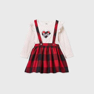 Disney x Pippa & Julie Toddler Girls' Mickey and Minnie Mouse Gingham Suspender Long Sleeve Dress -