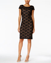 Connected Lace Cowl-Back Sheath Dress