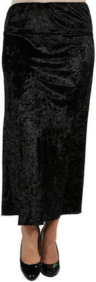 24/7 Comfort Apparel Taupe Velvet Maxi Skirt - Plus