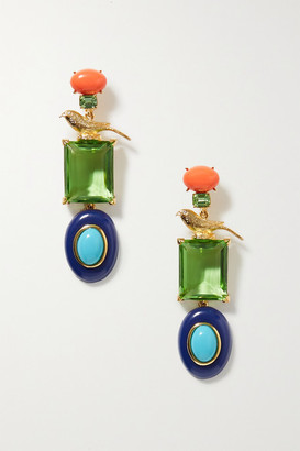 Kenneth Jay Lane Brandon Maxwell Gold-plated Multi-stone Earrings