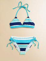 Splendid Girl's Two-Piece Circus Stripe Bikini Set