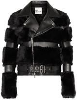 Noir Kei Ninomiya Faux Fur And Faux Leather Biker Jacket - Black