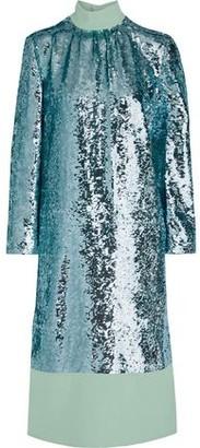 Tibi Reversible Sequined Crepe Midi Dress