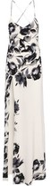 Mason by Michelle Mason Wrap-effect Open-back Printed Washed-silk Gown