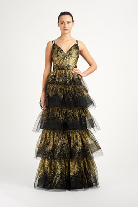 Marchesa Notte Sleeveless V-Neck Glitter Tulle 5-Tiered Gown