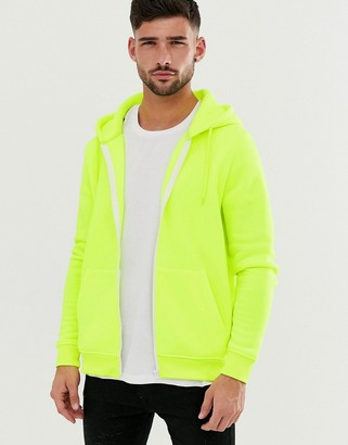 Brave Soul zip through hoodie in neon yellow
