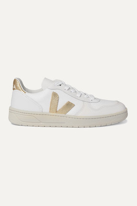 Veja V-10 Metallic-trimmed Mesh And Leather Sneakers - White