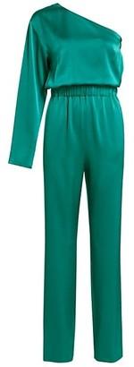 Carolina Ritzler Satin One-Shoulder Jumpsuit