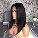 Shy Hair Silk Straight Full Lace Wig Human Hair With Baby Hair Natural Color Can be Perm Brazilian Virgin Hair Lace Front Wig for Black Women Girls (14inch, Lace Front)