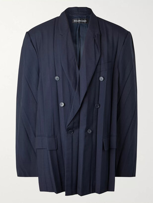 Balenciaga Oversized Double-Breasted Pleated Wool-Blend Blazer