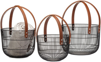 Torre & Tagus Set Of 3 Mission Wire Faux Leather Handle Baskets
