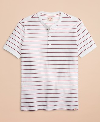 Brooks Brothers Striped Cotton Jersey Short-Sleeve Henley