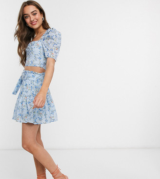 Collective The Label Petite printed broderie skirt co ord in blue