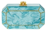 Edie Parker Fiona Teal and Gold Glitter Faceted Clutch