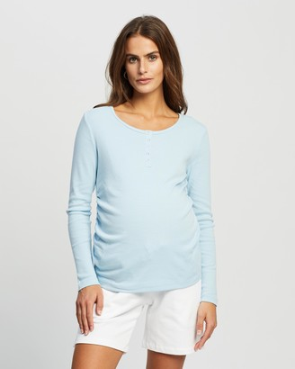 Cotton On Maternity - Women's Blue Maternity T-Shirts - Maternity Henley Long Sleeve Top - Size XXS at The Iconic