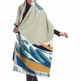 Yinyinyin.Womens Scarf Ukiyo-E Japanese Big Wave Art Womens Scarf Large Soft Silky Pashmina Cashmere Shawl Wrap 68 X 196 Cm