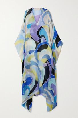Emilio Pucci Printed Silk Crepe De Chine Kaftan - Blue