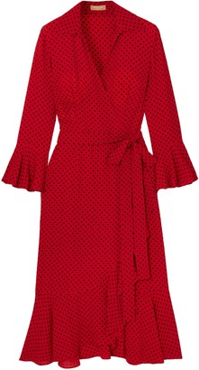 Michael Kors Ruffled Polka-dot Silk Crepe De Chine Midi Wrap Dress