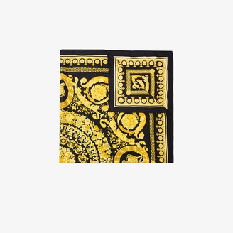 Versace Black and yellow Baroque print Silk Scarf