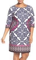 Eliza J Geo Print Ponte Sheath Dress (Plus Size)