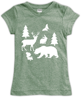 Urban Smalls Heather Green Woodland Friends Fitted Tee - Toddler & Girls