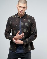 AllSaints Shirt in Slim Fit with All Over Feather Print