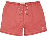 River Island MensRed washed short swim trunks