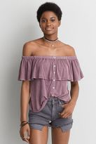 American Eagle Outfitters AE Button Off-the-Shoulder Top
