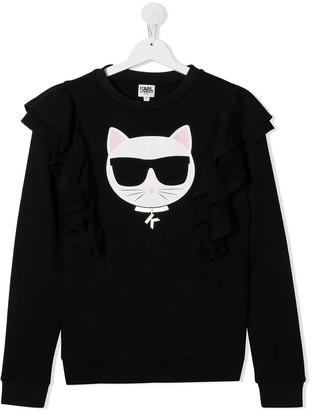 Karl Lagerfeld Paris Ruffled Shoulder Cotton Sweater