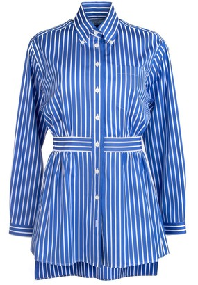 Prada Striped Asymmetric Hem Shirt