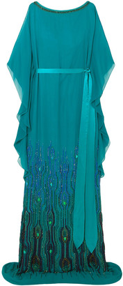 Jenny Packham Embellished Chiffon Gown