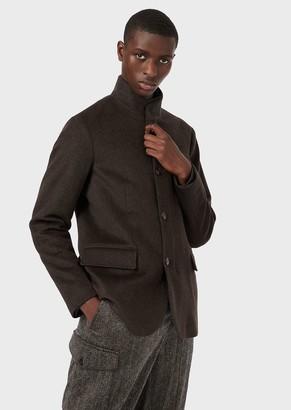 Emporio Armani Casentino Wool And Cashmere Blend Pea Coat