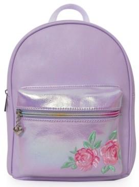Omg Accessories Flower Embroidery Metallic Mini Backpack