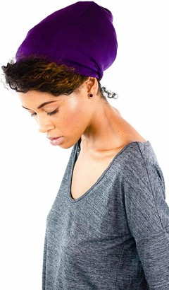 Grace Eleyae GE Sleep Cap | Slap Silky Adjustable Satin Lined Cap Stylish Premium Quality Beanie Hat Head Cover for Curly Hair Women Soft & Smooth One Size Fits All (Purple)