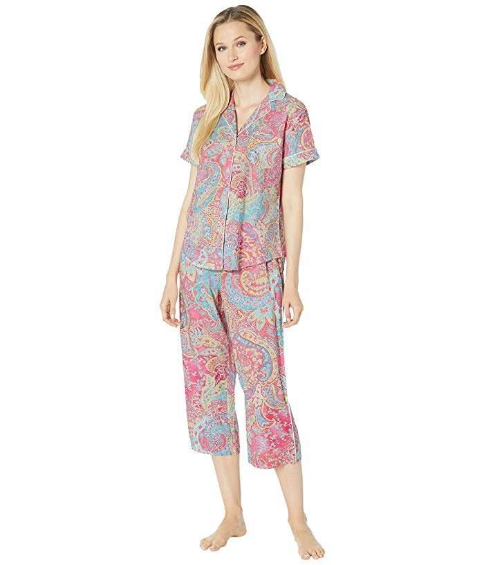 97f7ecda Short Sleeve Pointed Notch Collar Capri Pants Pajama Set