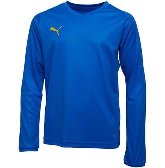 Puma Junior Boys Liga Core Long Sleeve Jersey Electric Blue Lemonade/Yellow