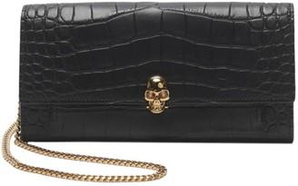 Alexander McQueen Skull Croc-Embossed Leather Wallet-On-Chain